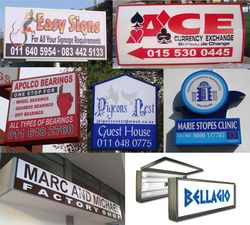 a collection of signs