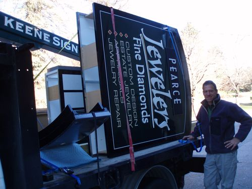 Peter with Pearce Jewelers sign on the truck