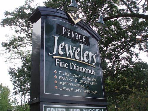Pearce Jewelers sign finished