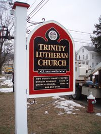 Trinity Lutheran Church sign finished and installed.