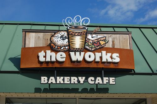 The Works Bakery sign. Dimensional sign with reclaimed chestnut, rusted steel and patina copper