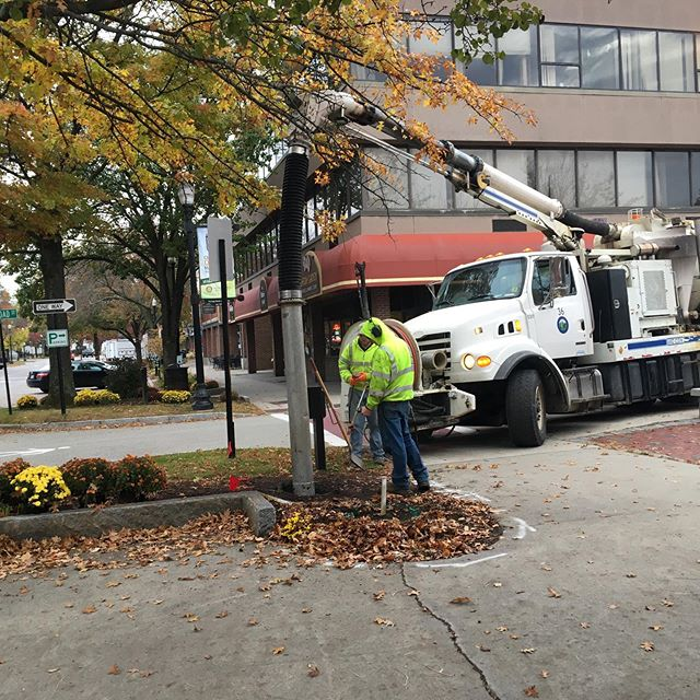 You got a like it when the city shows up with a giant vacuum to put your post holes in. Walldog Kiosk going in.