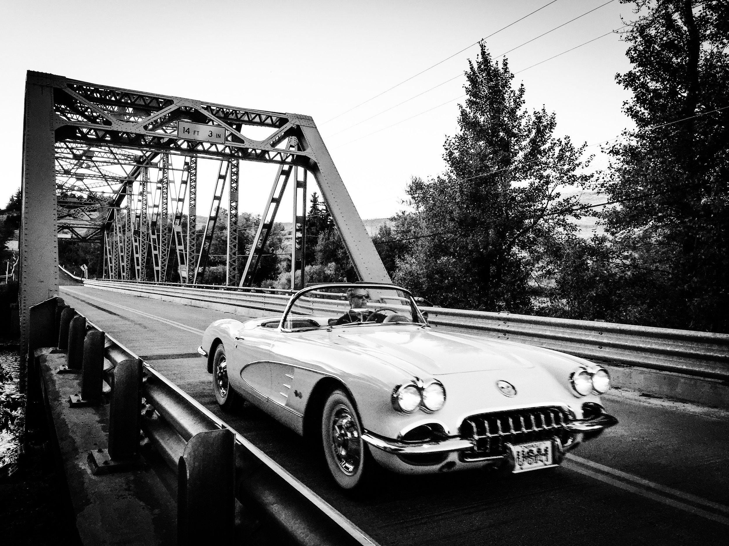 Mark Driving Corvette Across bridge.JPG