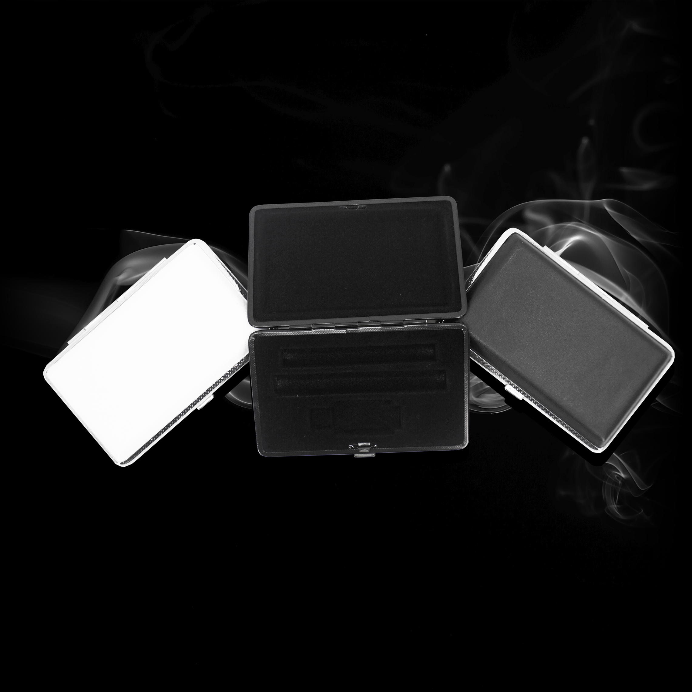 metal cases - features:to fit: cartridges, batteries, usb chargersvelvet interiorsdifferent colors and trims