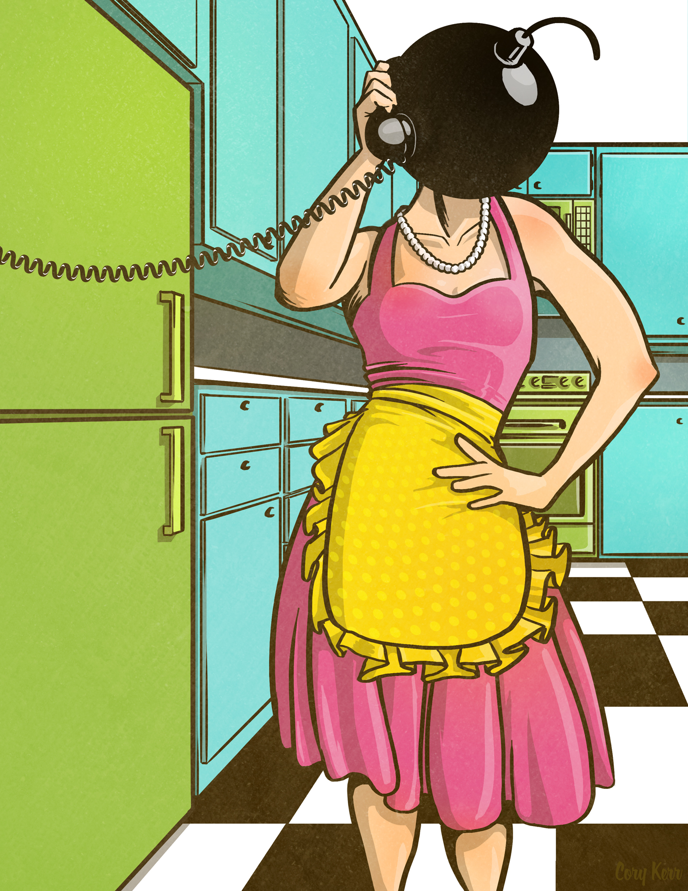 Bombshell Housewife Pinup illustration