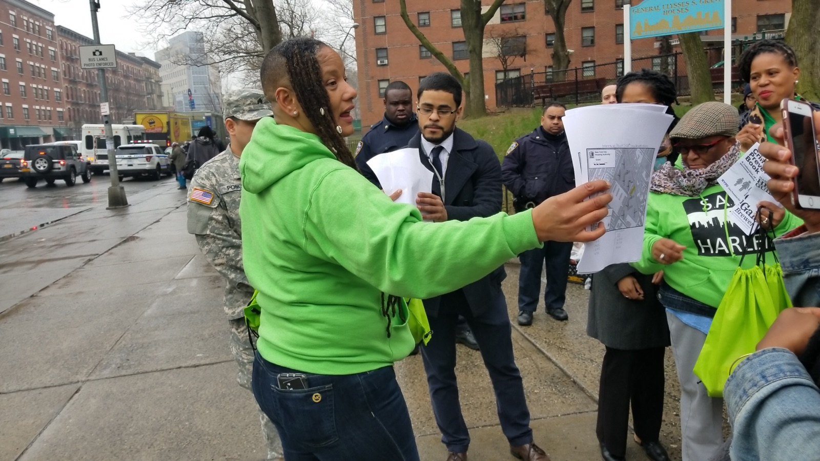 The PILLARS Chief Executive Officer, Felecia Pullen, rallying the team outside of the Ulysses. S. Grant Houses.