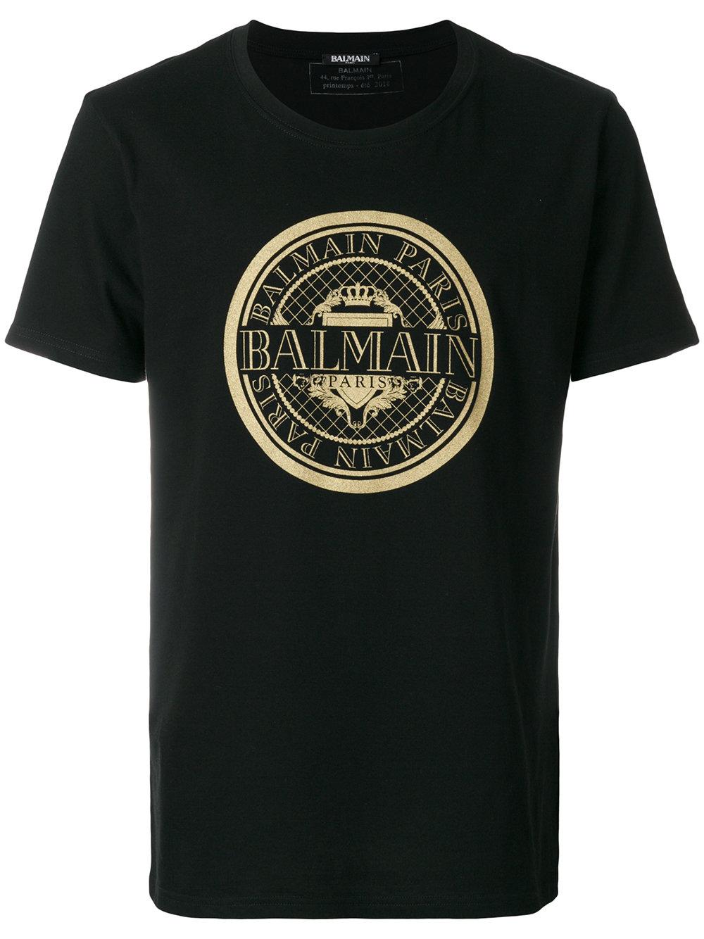 Balmain   Gold Crest Logo Tee