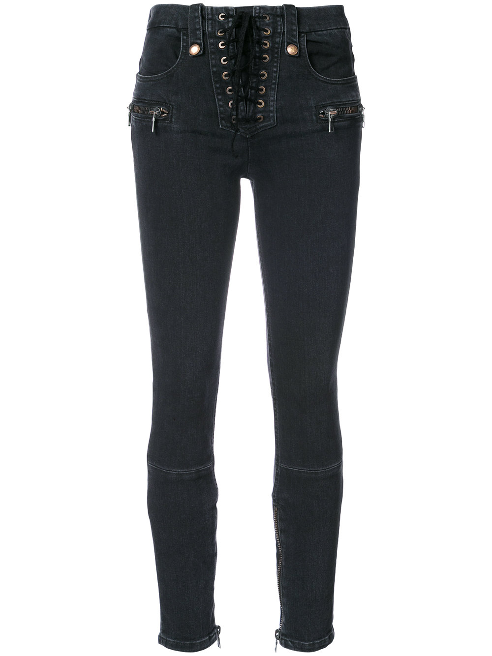Unravel Project   Dark Rinse Lace Up Skinny Denim Pant