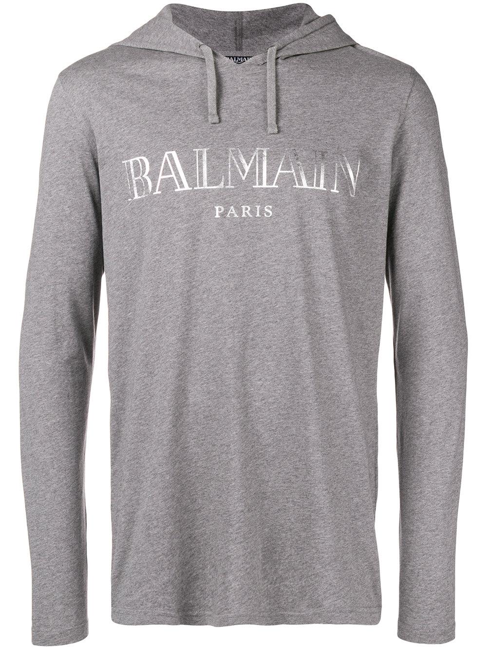Balmain   Grey Logo Pullover With Hood