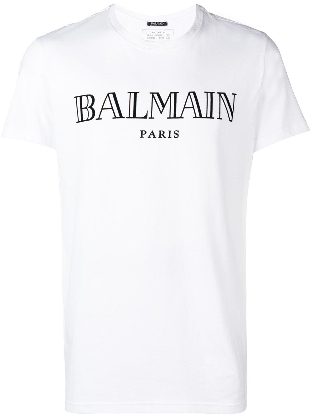 Balmain   White Short Sleeve Logo Shirt
