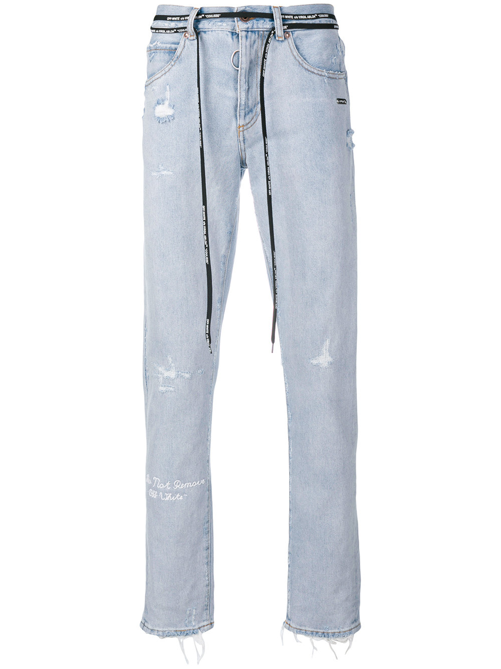 Off-White   Light Wash Distressed Jean