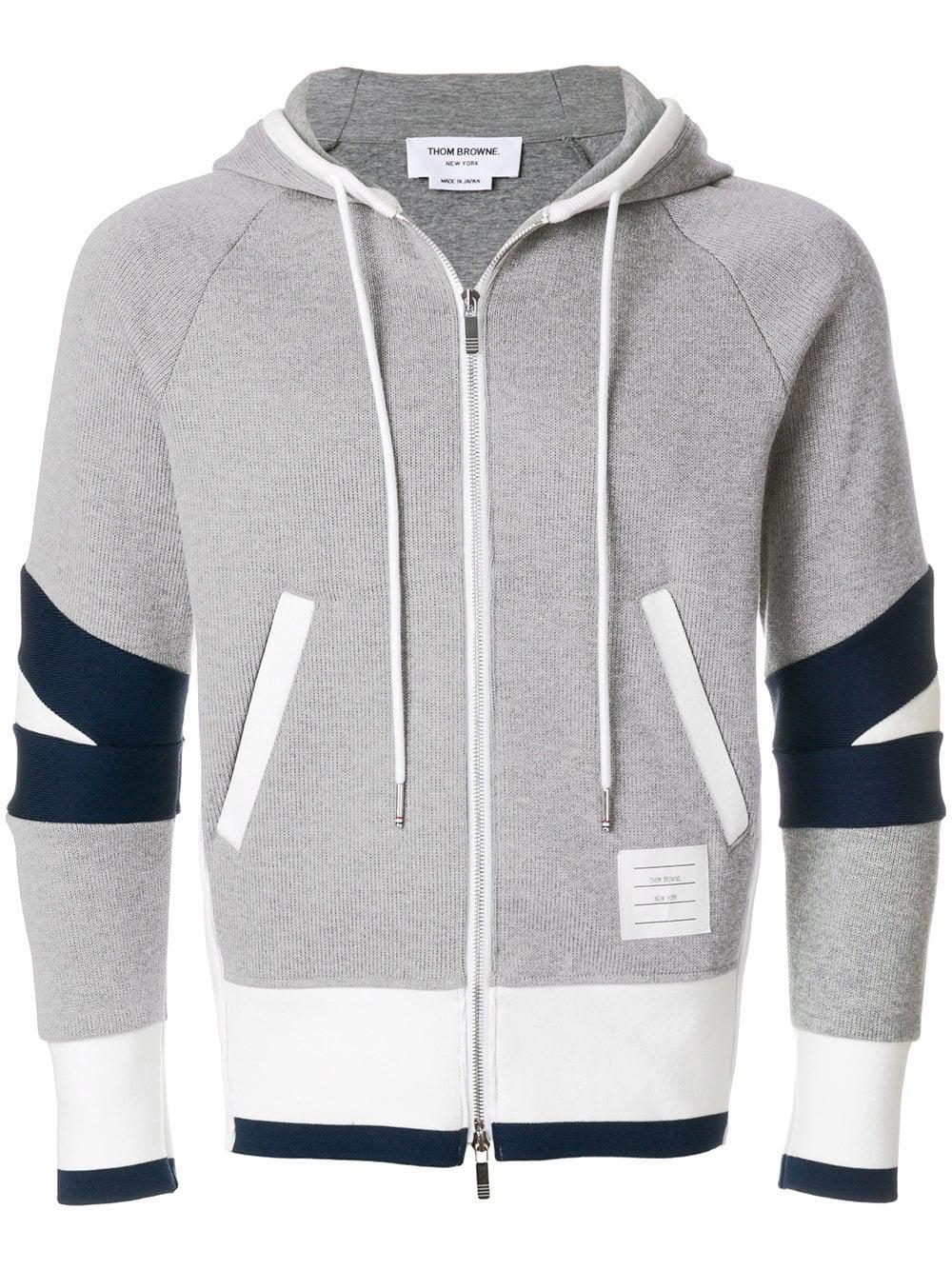 Thom Browne   Grey Zip Up Hoodie
