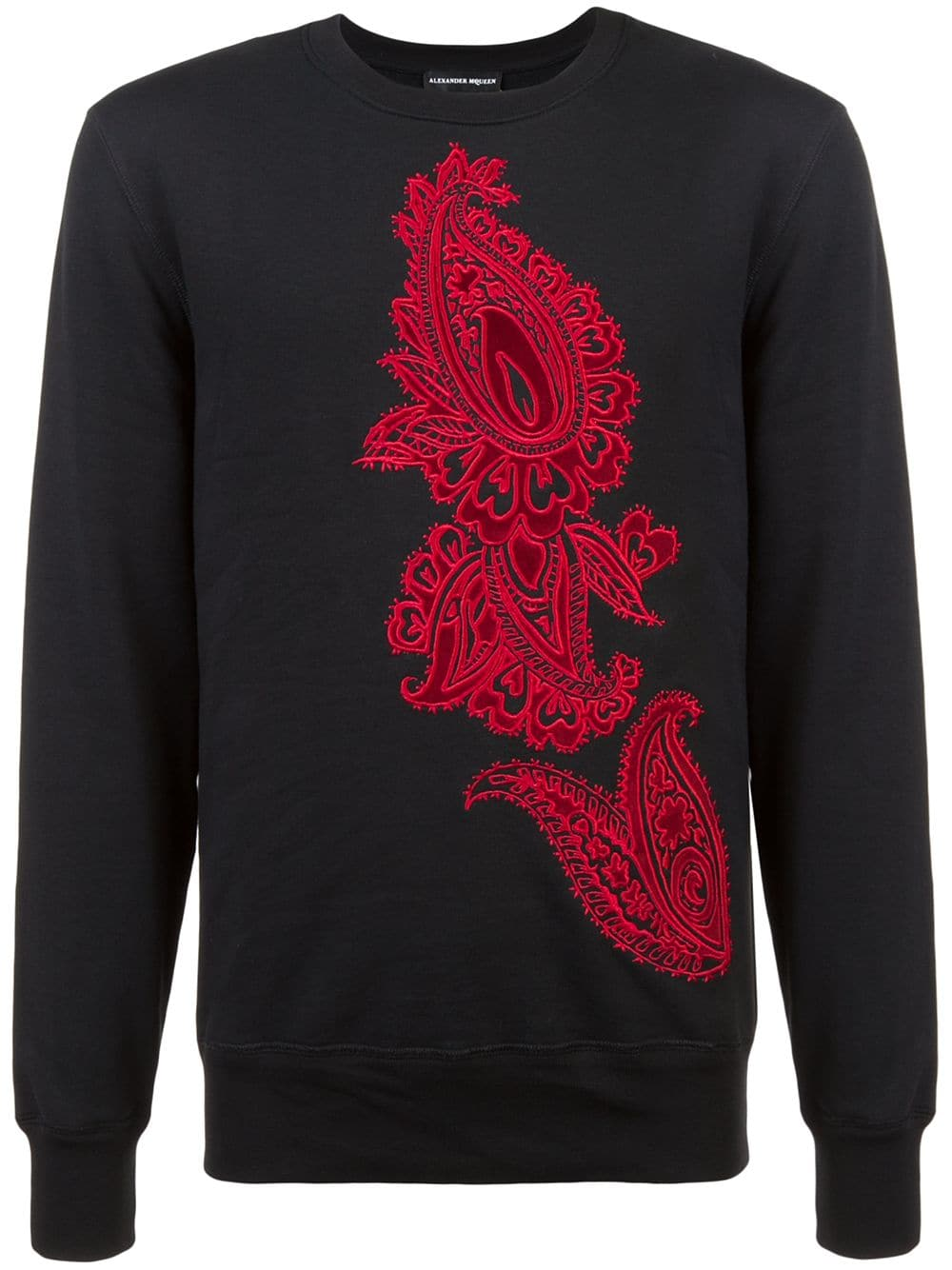 Alexander McQueen   Black Sweatshirt With Embroidered Design On Front