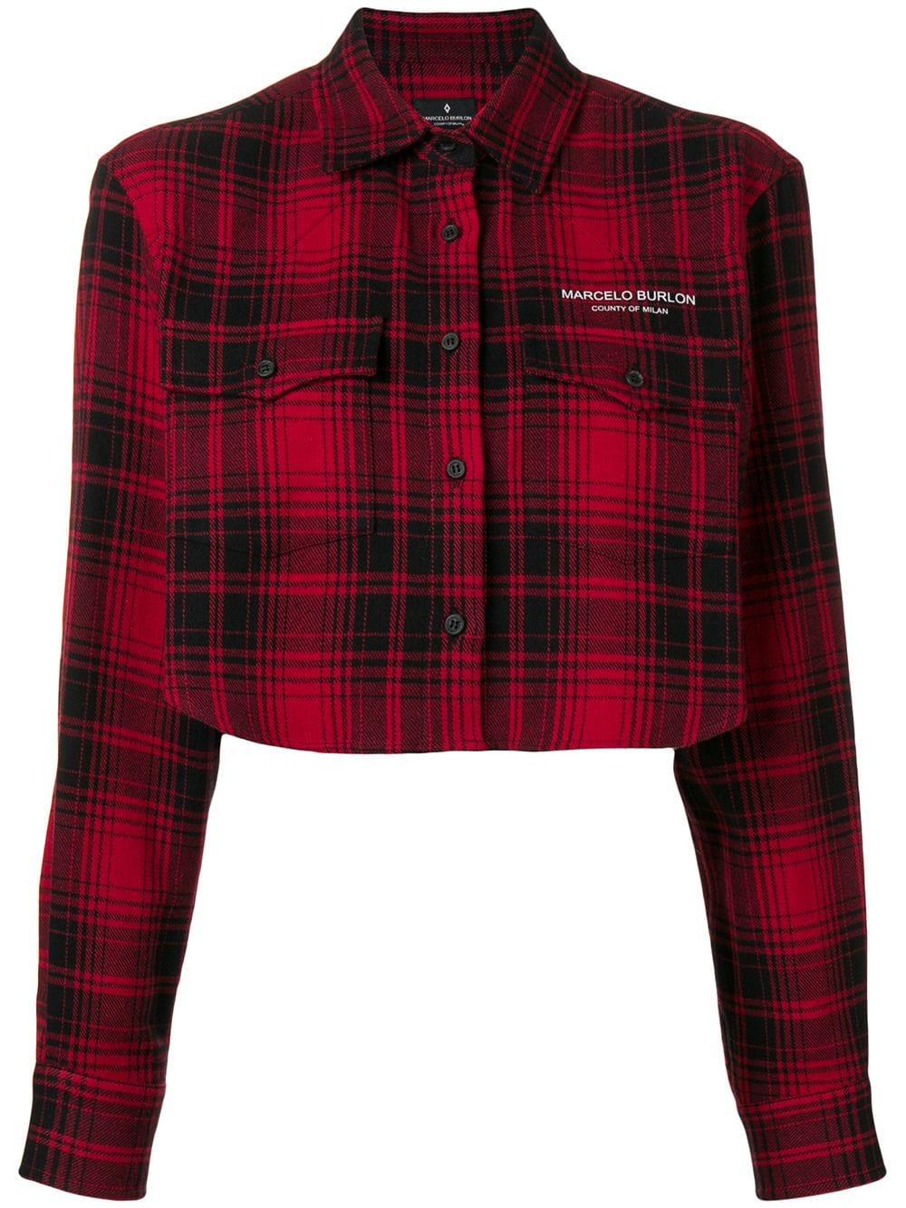 Marcelo Burlon County of Milan   Red Crop Button Up Shirt
