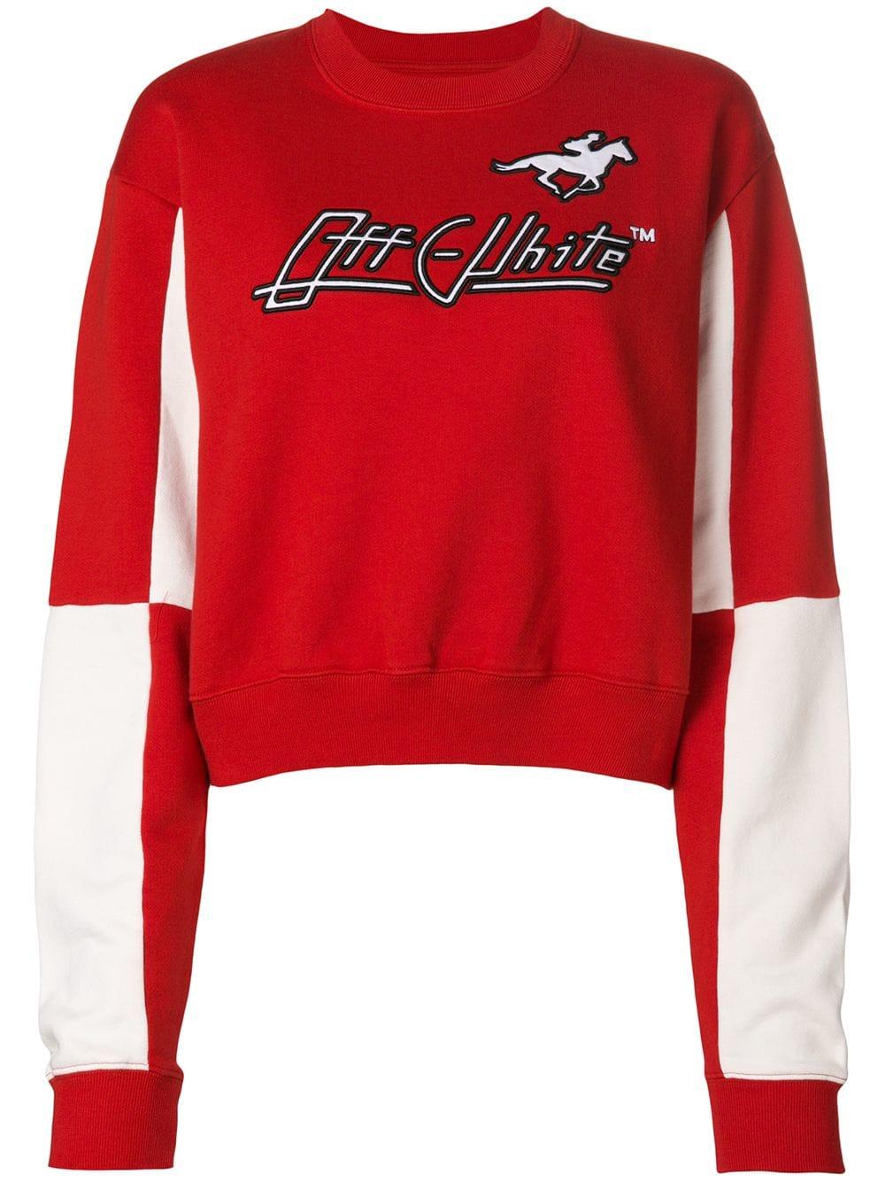 Off-White   Red and White Logo Sweatshirt