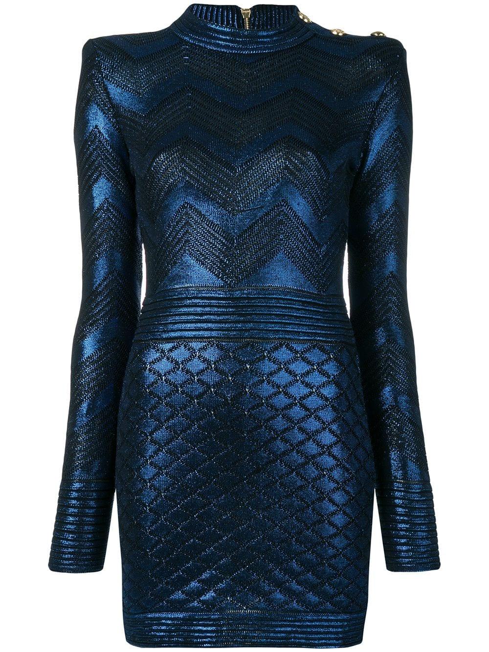 Balmain   Blue Long Sleeve Mini Dress