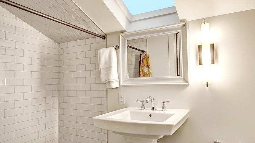Bathroom ideas subway wall tile white bright skylight ideas inspiration.jpg