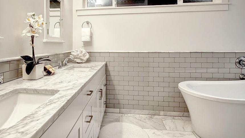 Bathroom grey subway tile wall marble tile floor marble countertop tanding tub ideas inspiration.jpg
