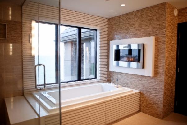 Bathroom Stone mosaic call marble floor wall fireplace over tub designer inspiration ideas.JPG