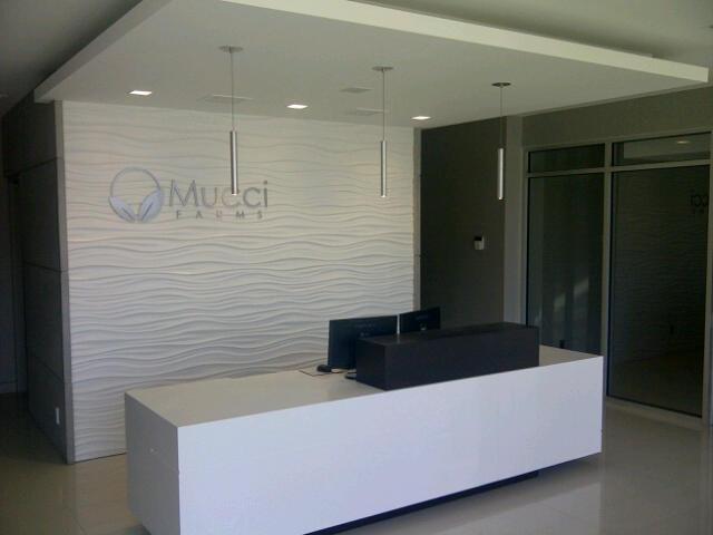 Office reception desk wave wall tile white quartz counter ideas inspiration.jpg
