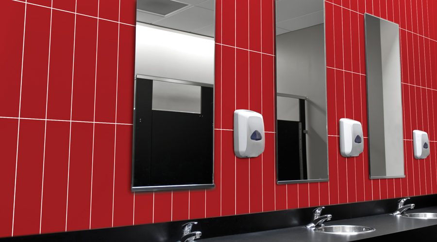 Office bathroom red wall tile ideas inspiration.jpg