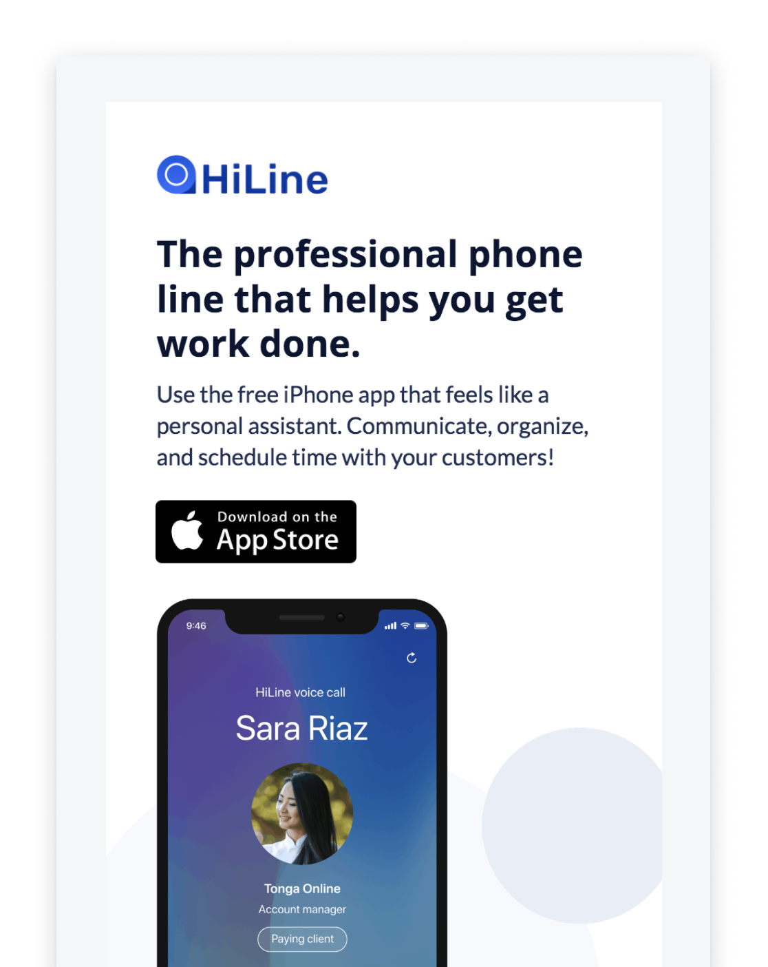 Native iOS app - The app is available on iOS. It functions just like a normal phone number, but it's easy to tell who is a customer and who is a personal contact. I worked on the marketing site, iOS wireframes and UX, and user research.