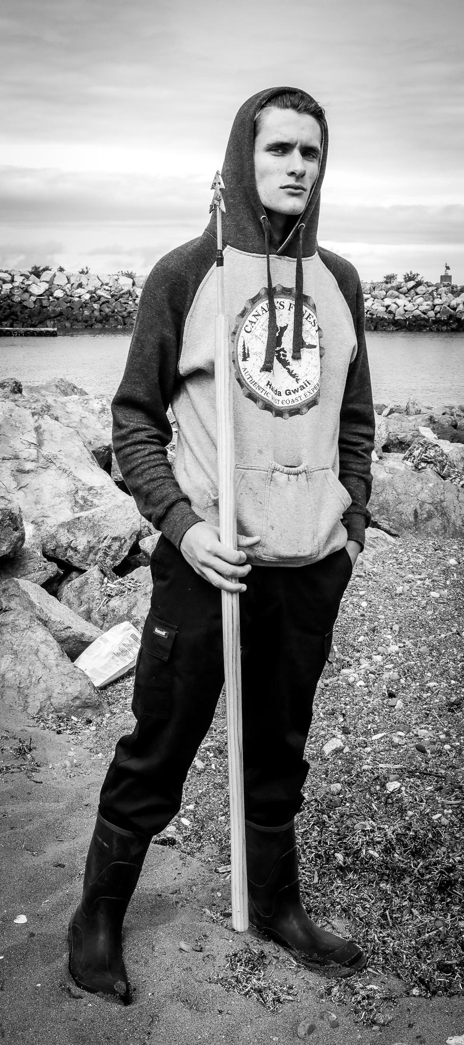 Caysen McDiarmid, on the beach at Sandspit, Haida Gwaii