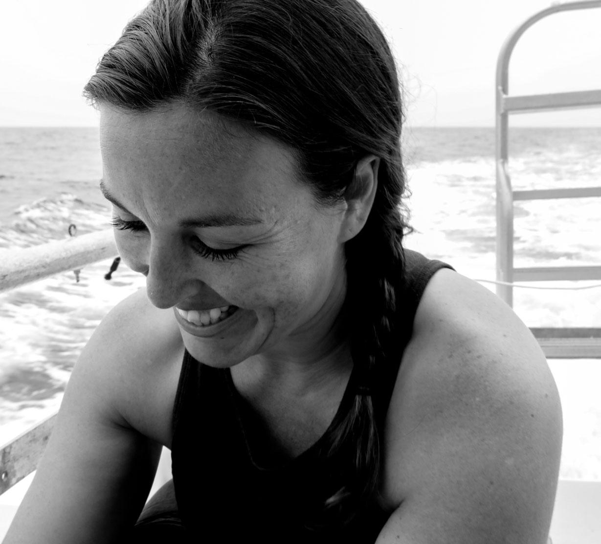 Danna Moore, preparing to dive, San Diego, California