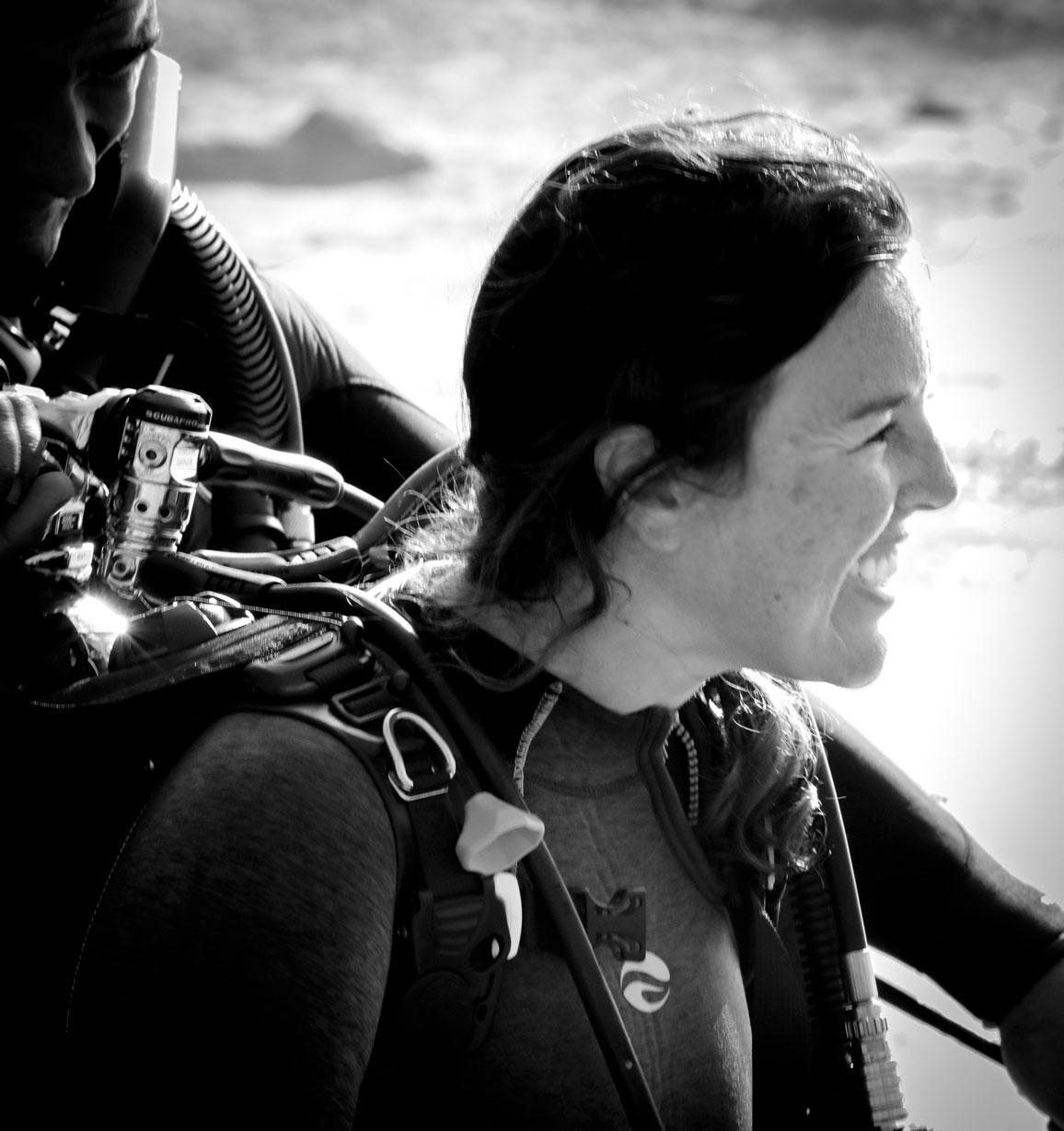 Danna Moore, diving during a Dive Against Debris survey event at Laguna Beach, California