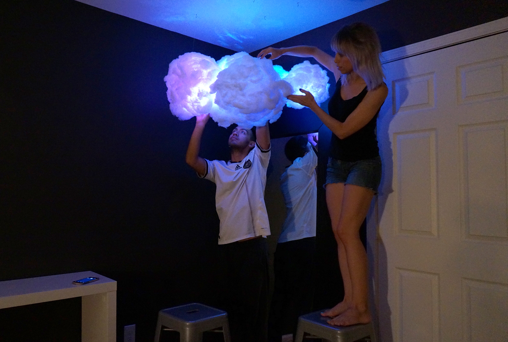 LED lights in cloud lamp