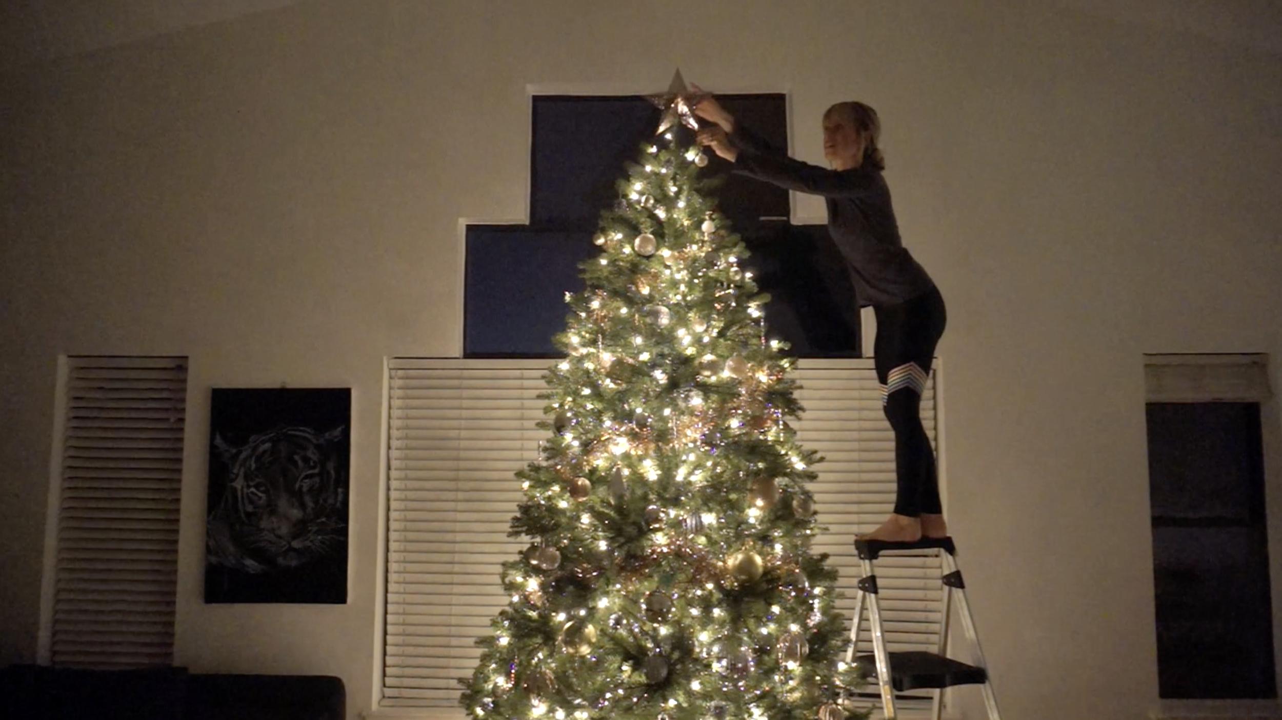 now top that tree! /  ¡coloca la estrella donde tiene que estar!