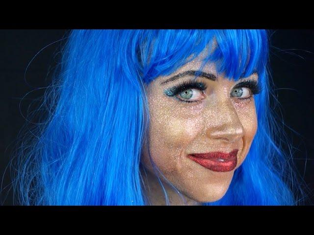 Full face of glitter look -