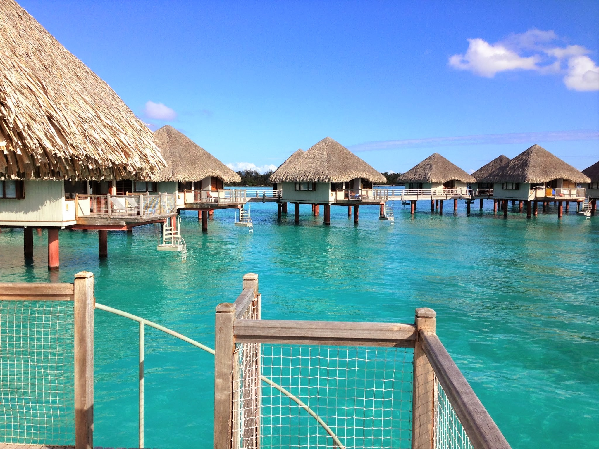 This was the view from our over-water bungalow at Le Meridien. I still can't get over that crystal clear water!