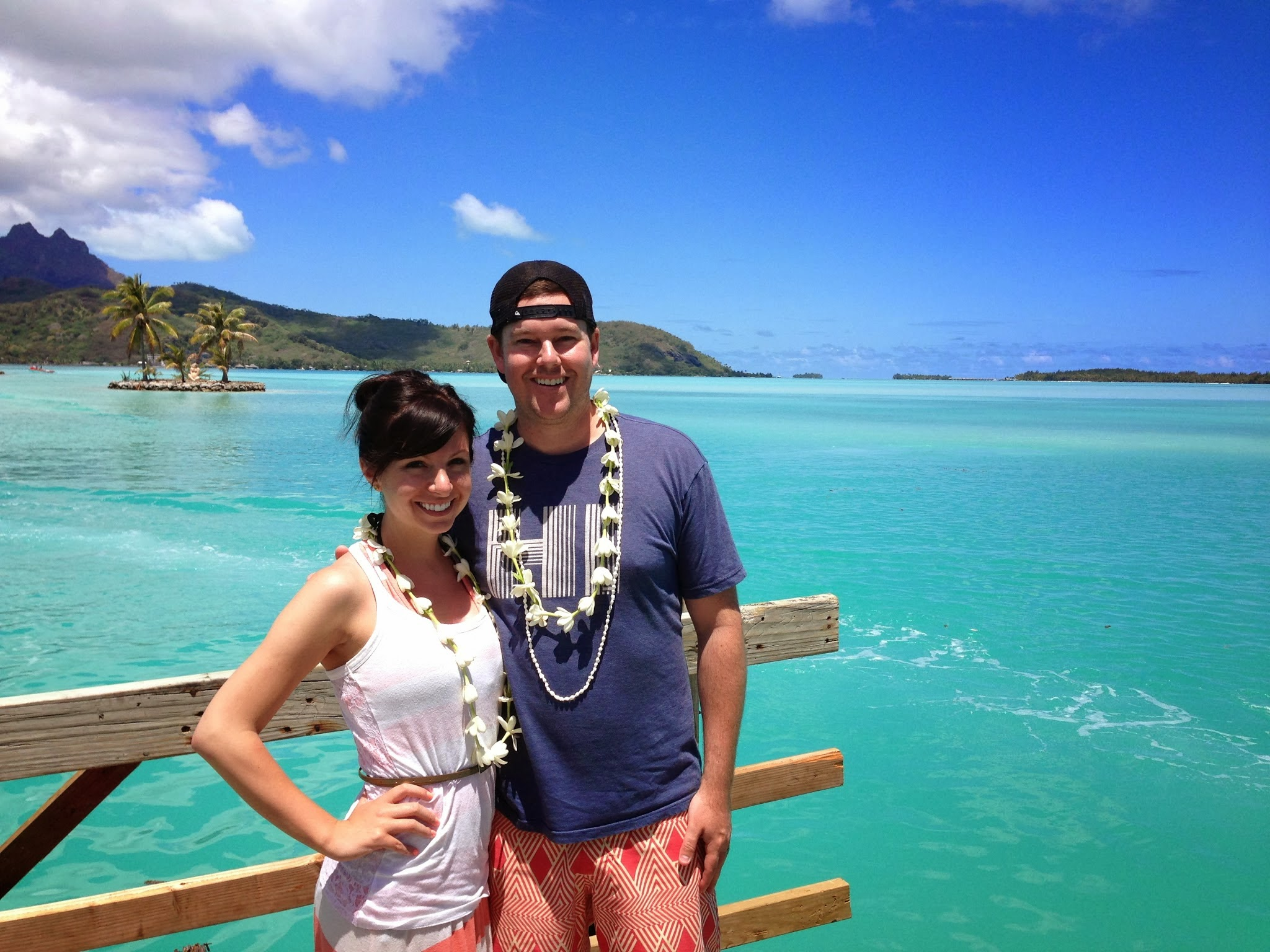 Waiting for our water taxi at the Bora Bora airport.
