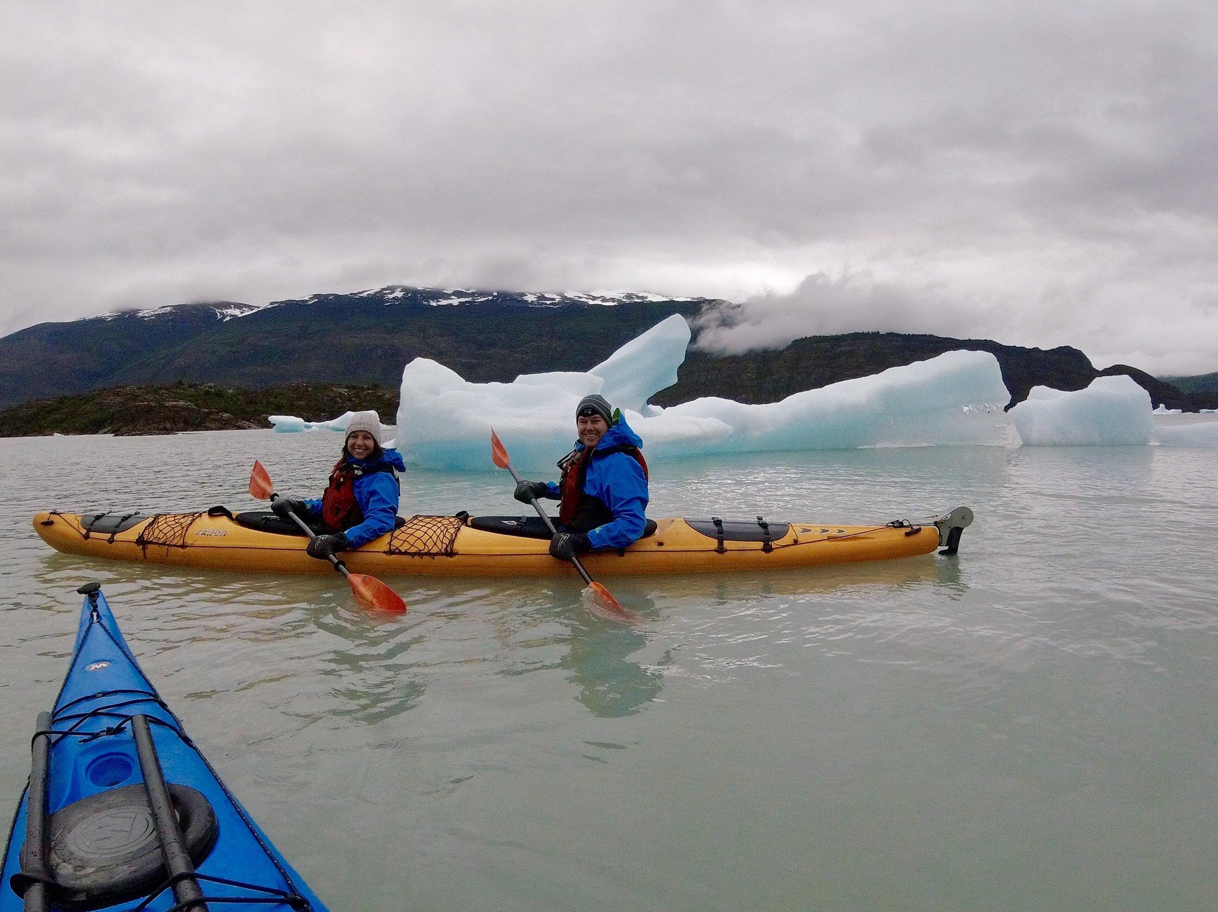 Kayaking around the icebergs in Grey Lake.