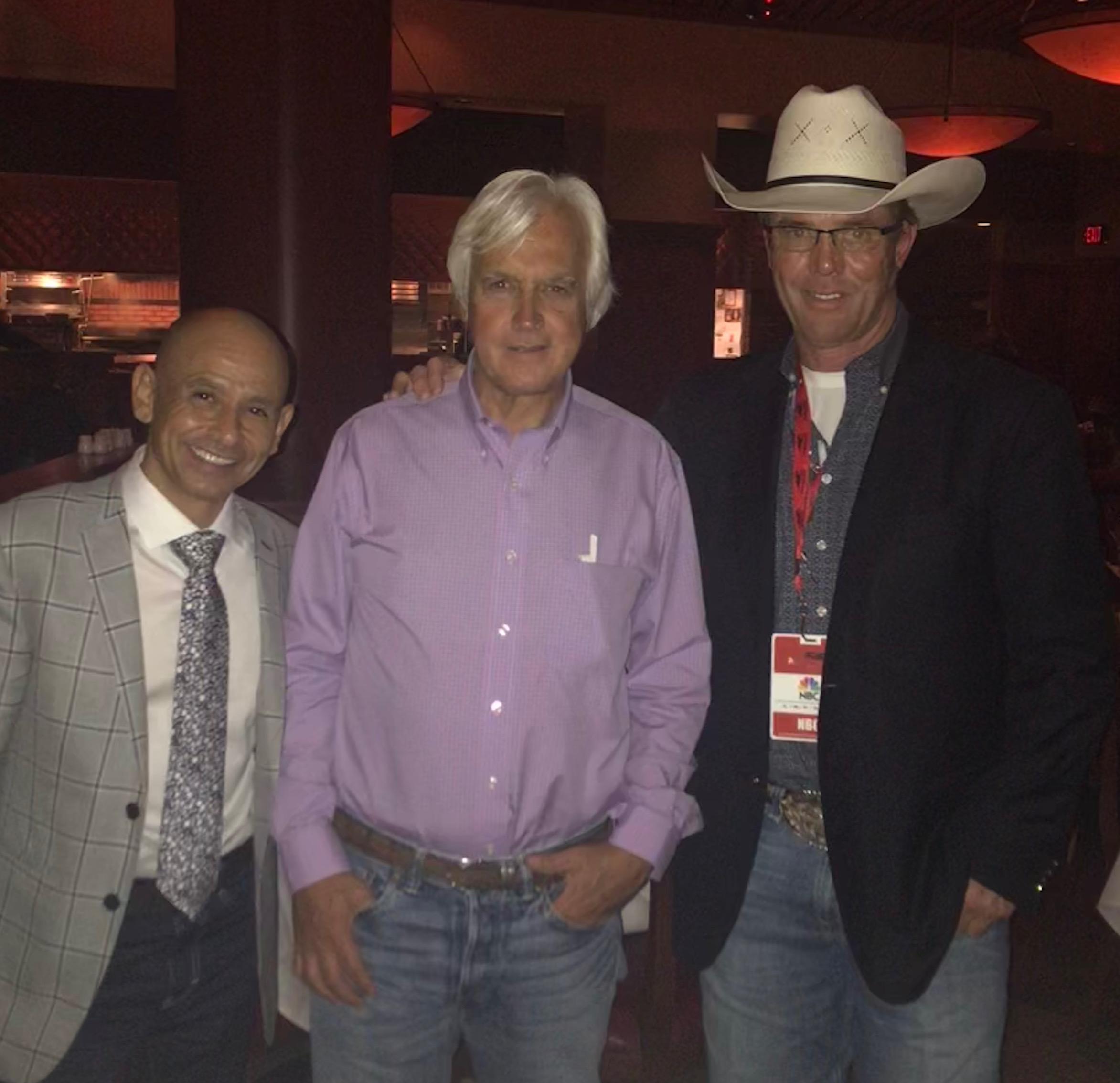 Jockey Mike Smith, Trainer Bob Baffert, and Tuff Hedeman