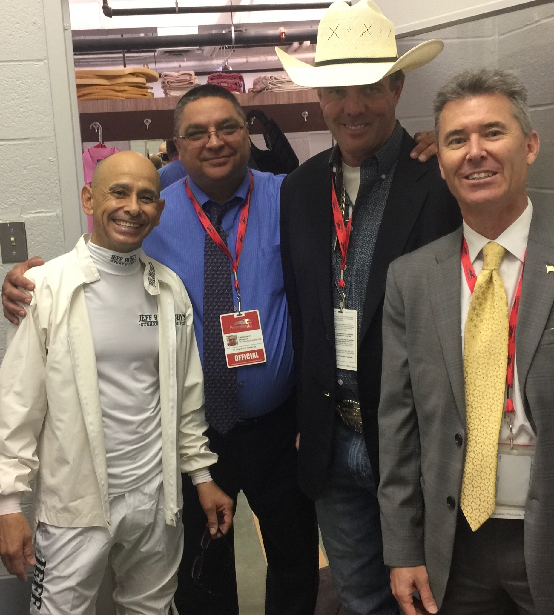 Mike and I visiting with race officials in the Jockey's Locker Room  -