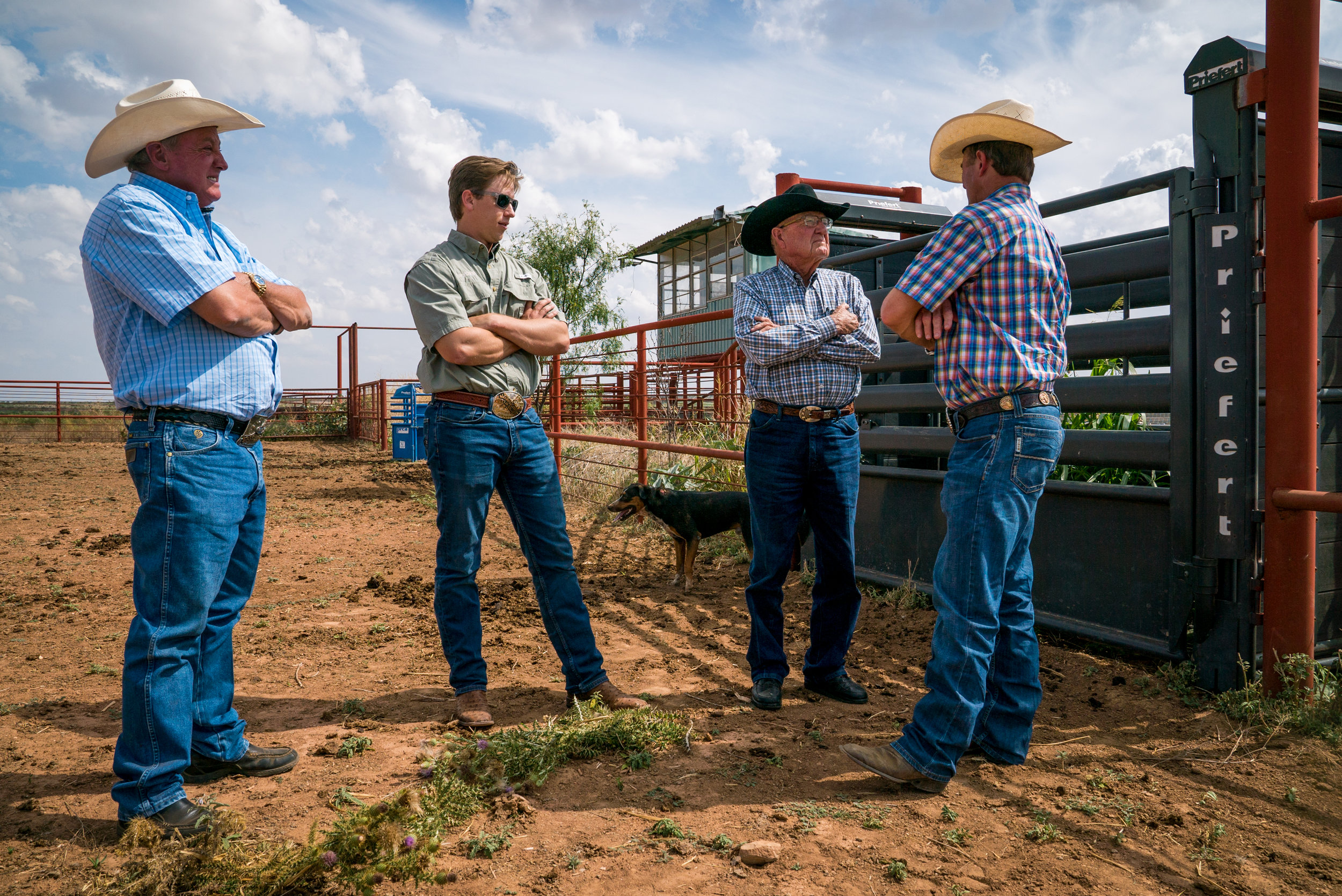 Tom Baker, James Trawick, Ralph Miller and Tuff Hedeman discussing location options for upcoming feature film  Tough Draw