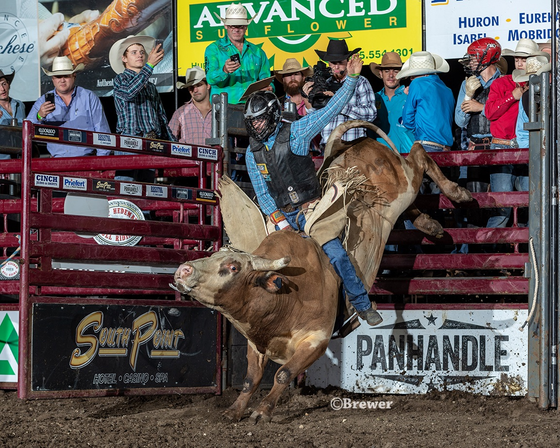 Rookie bull rider Brandon Davis will be riding for the THBRT Midwest Swing Champion title at the 8th Annual Blue Army Bull Bash in Waterloo, Illinois. Davis on 231 Fire and Ice (Hurst and Baker) in Huron, SD.