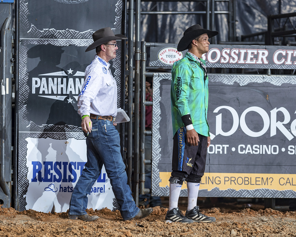 """Tuff will come up from behind and say funny stuff to lighten us up sometimes,"" said THBRT bullfighter Bryce Redo."