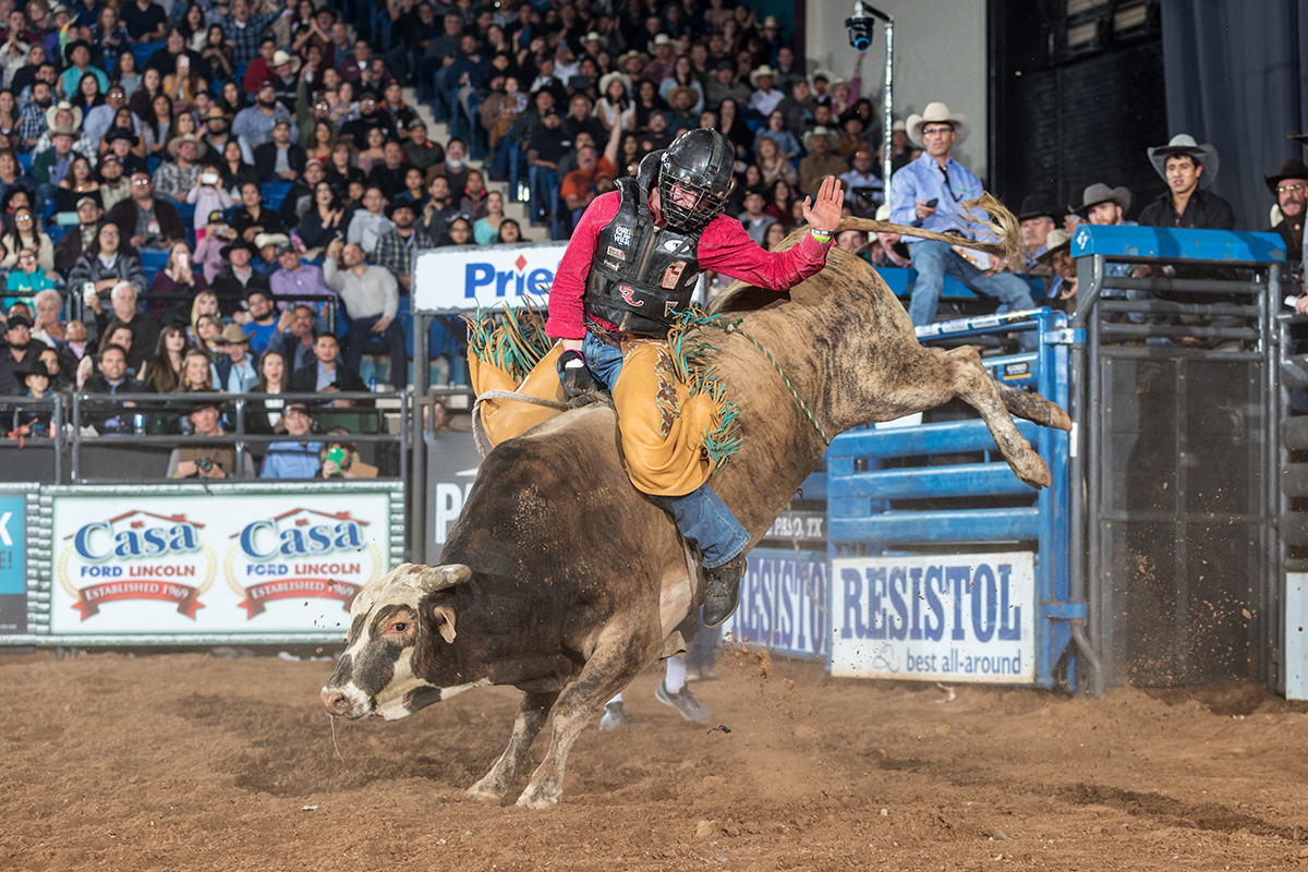 Arkansas cowboy Cole Skender captured his first qualified ride at a pro event with his 90 points aboard Harris' prize bucker in El Paso at the Casa Ford Tuff Hedeman Bull Riding.