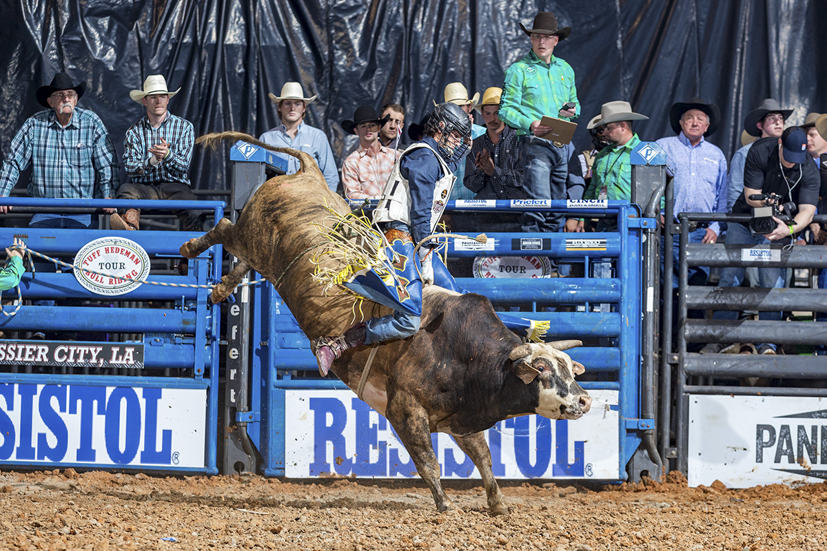 Dalan Duncan on 277 at the Eldorado Resort Casino TH Bull Riding Tour event.