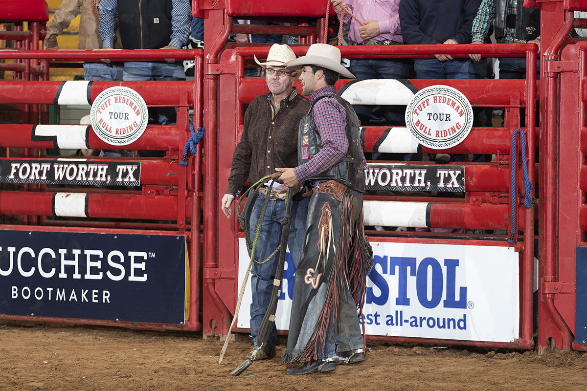 Eli Vastbinder discussing his ride with Tuff Hedeman at the Fort Worth Tuff Hedeman Bull Riding Challenge