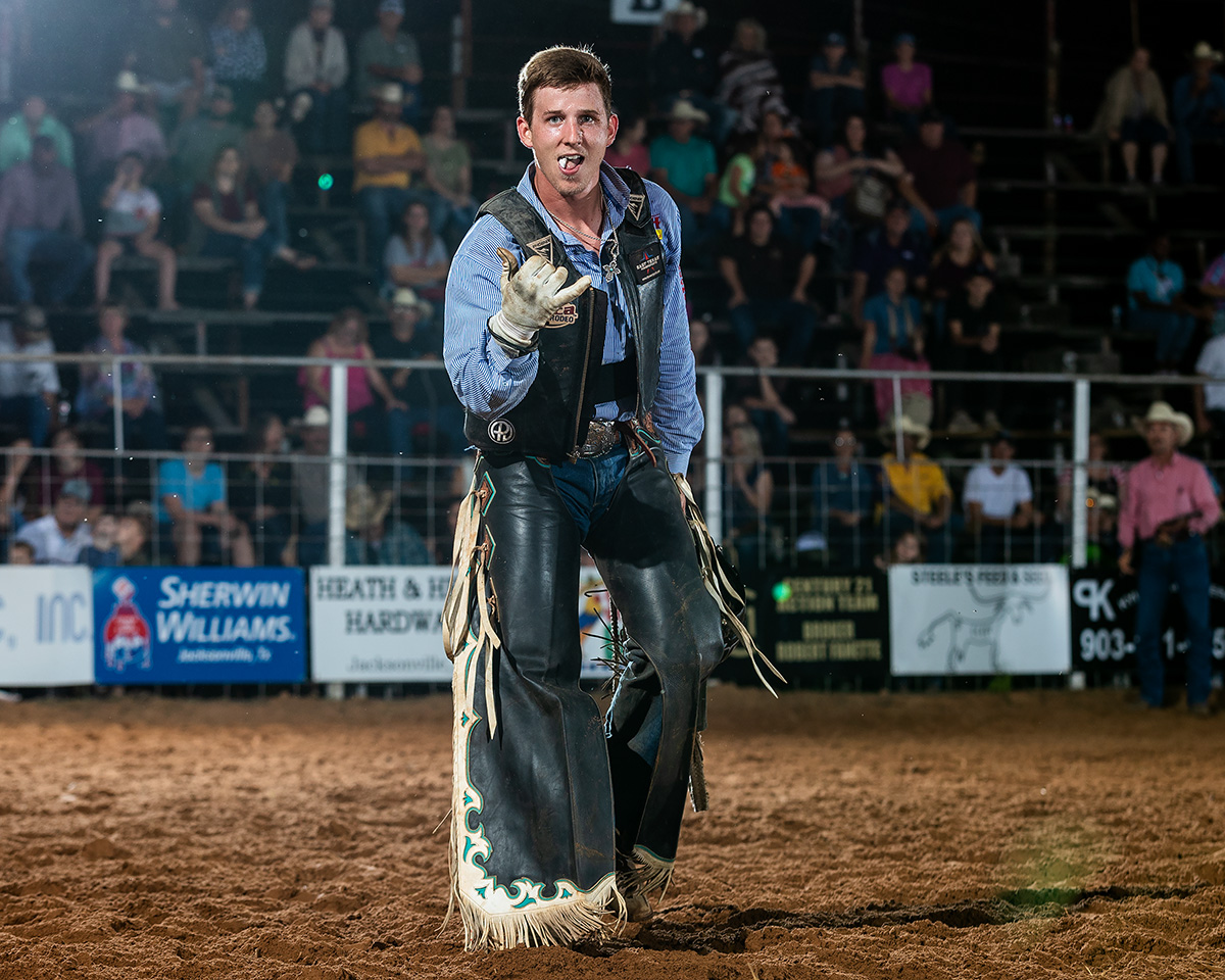 Tyler Taylor, Stephenville, Texas celebrates going 2 for 2 at the Nicky Wheeler Memorial.