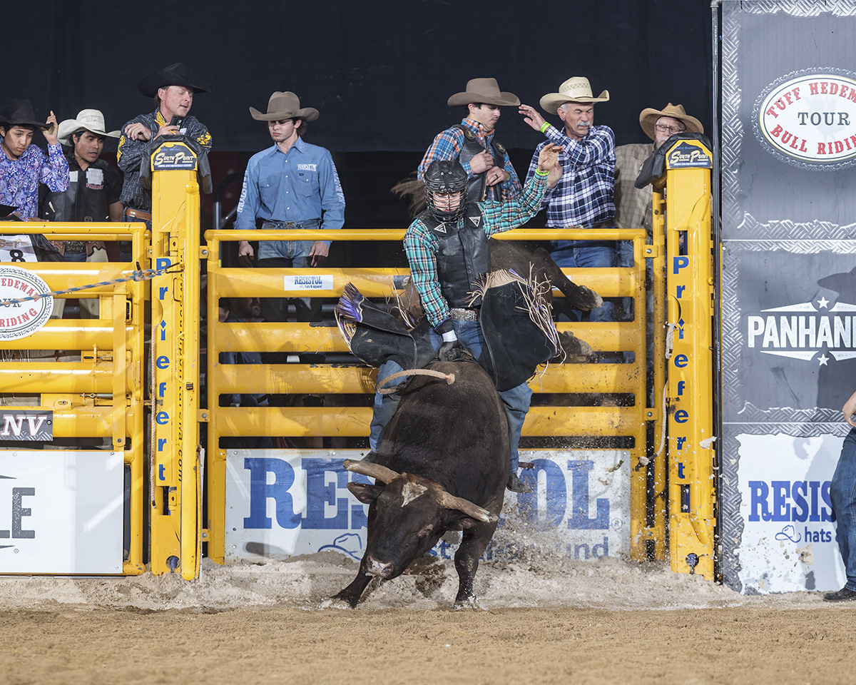Radley rides Mike Rawsons Kojack for 88 points at the 2018 Tuff Hedeman Bull Riding at the South Point Hotel and Casino Equestrian Center.