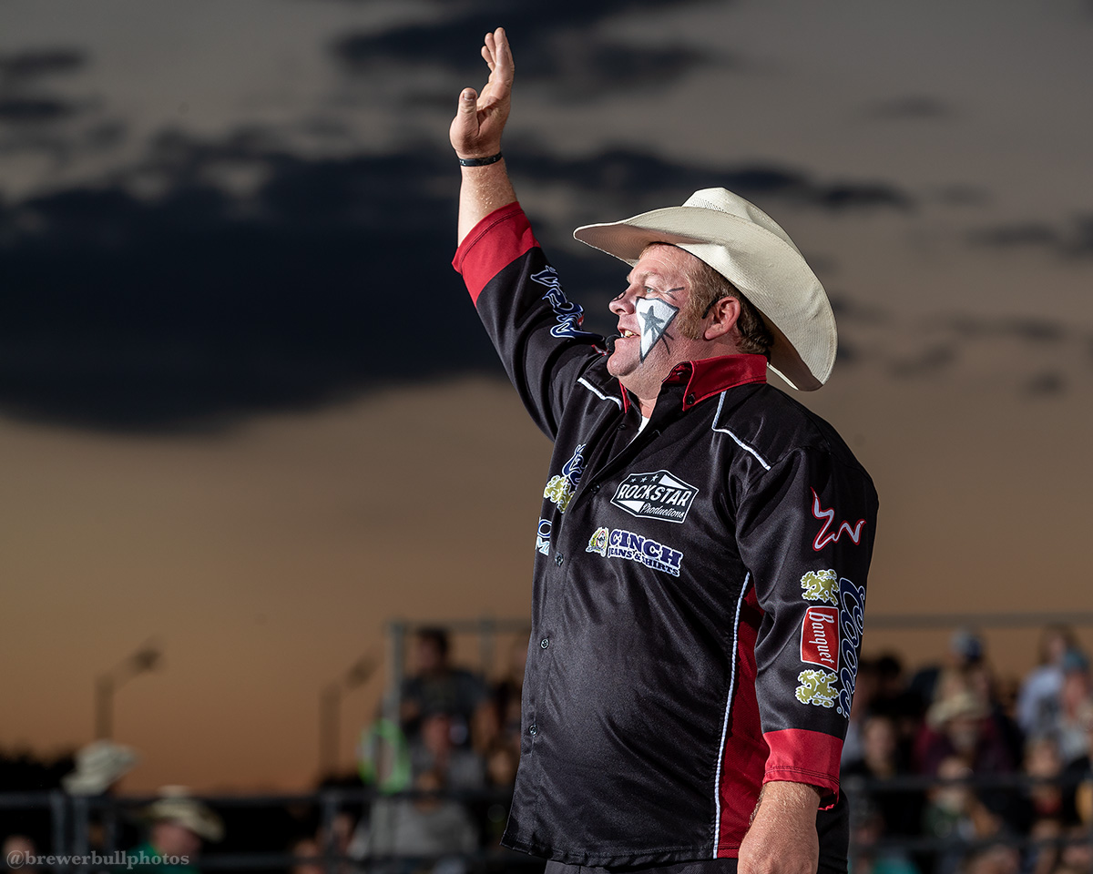 Justin Rumford entertaining the crowd at the Red Wilk Construction Bull Bash on the Tuff Hedeman Bull Riding Tour in Huron, South Dakota.