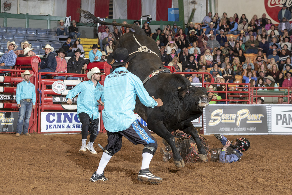 "Melancon gets a little help from his friend - neighbor and Tuff Hedeman Tour bullfighter Bryce Redo who describes him as ""electric""."