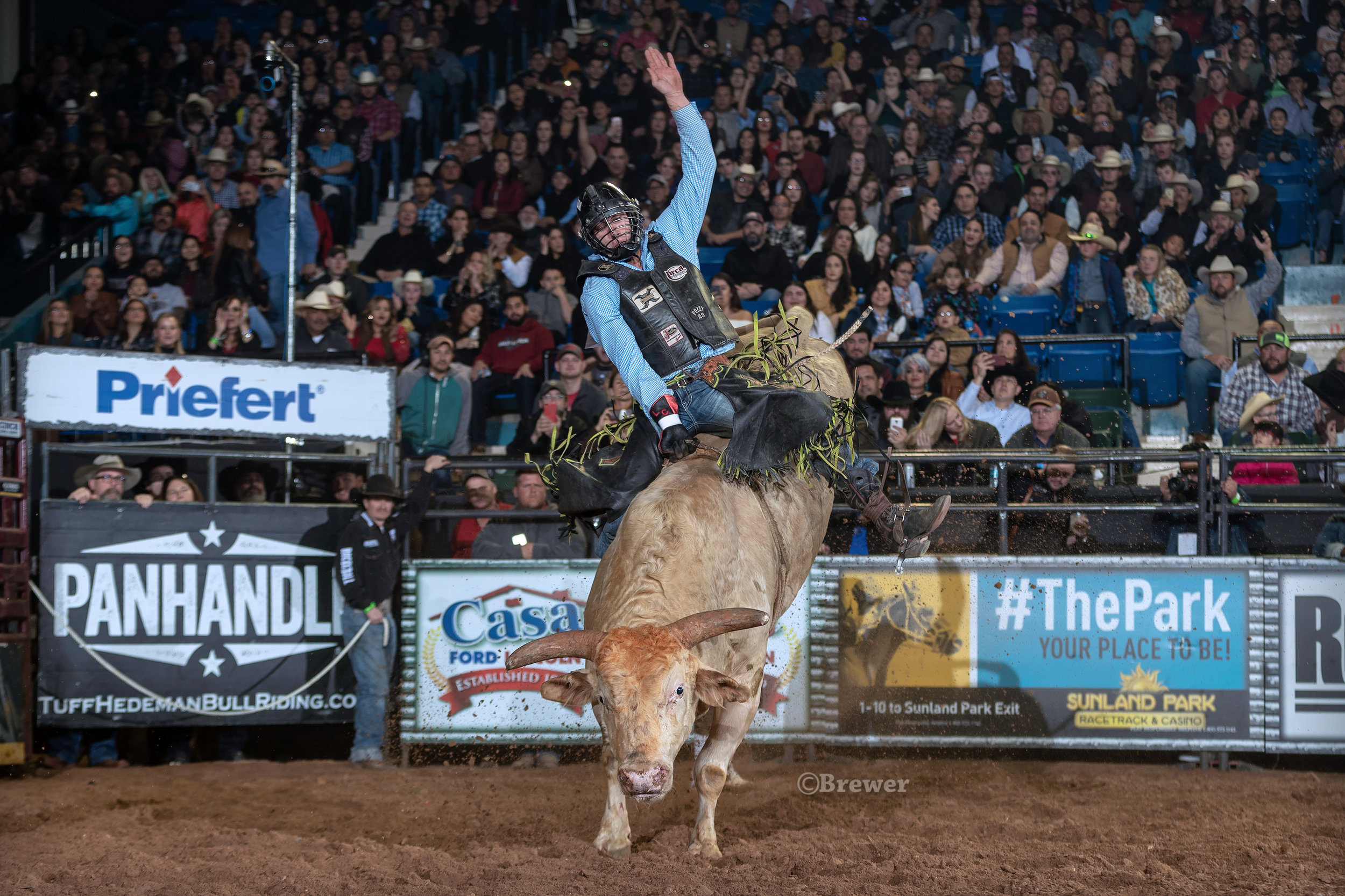 Laramie Craigen, Hampshire, Texas, wins Round one and scored the highest marked ride of the night on 2801 Speckled Chicken, owned by Rawson Bucking Bulls