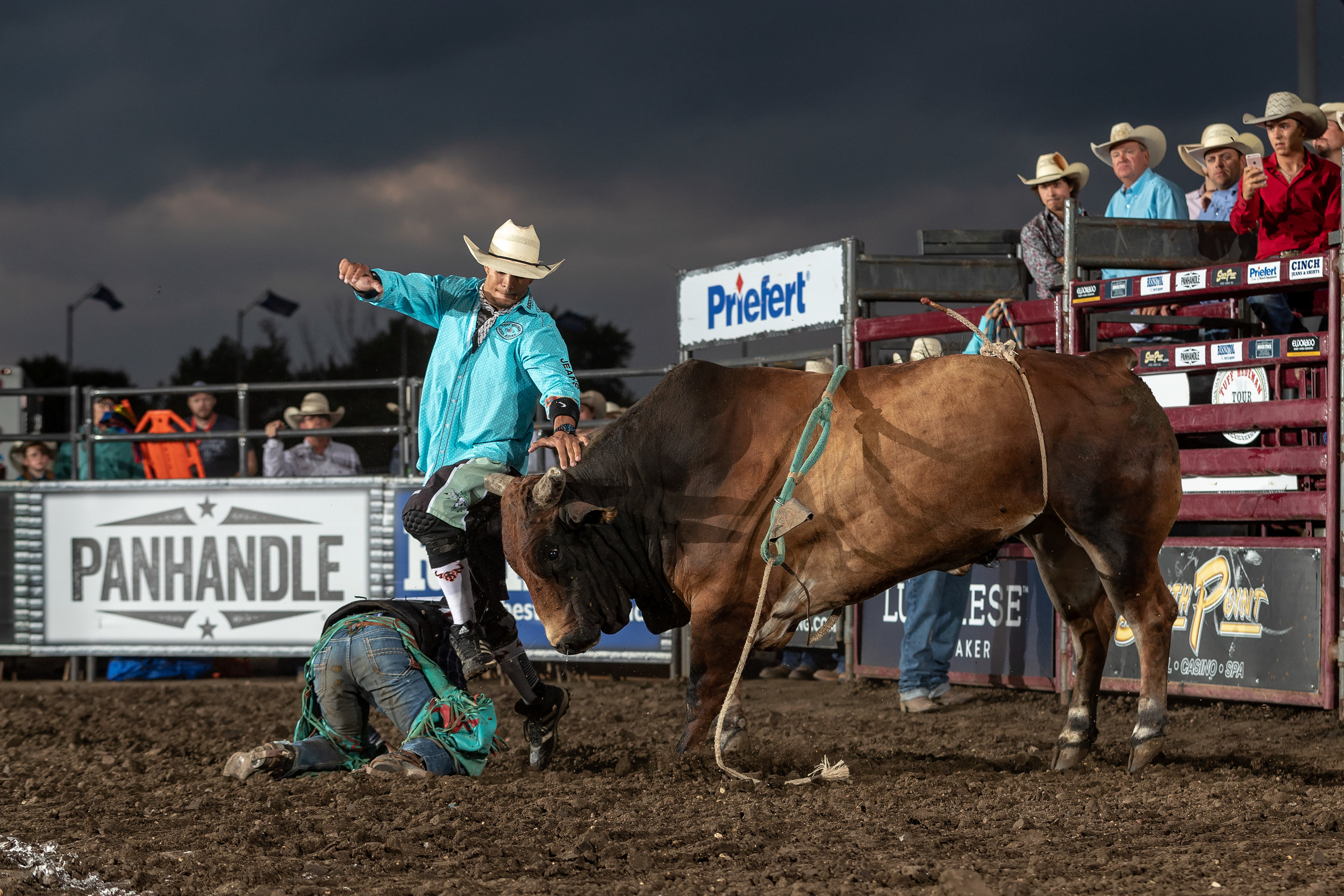 Tuff Hedeman bullfighter and former Bullfighters Only Champion Byrce Redo