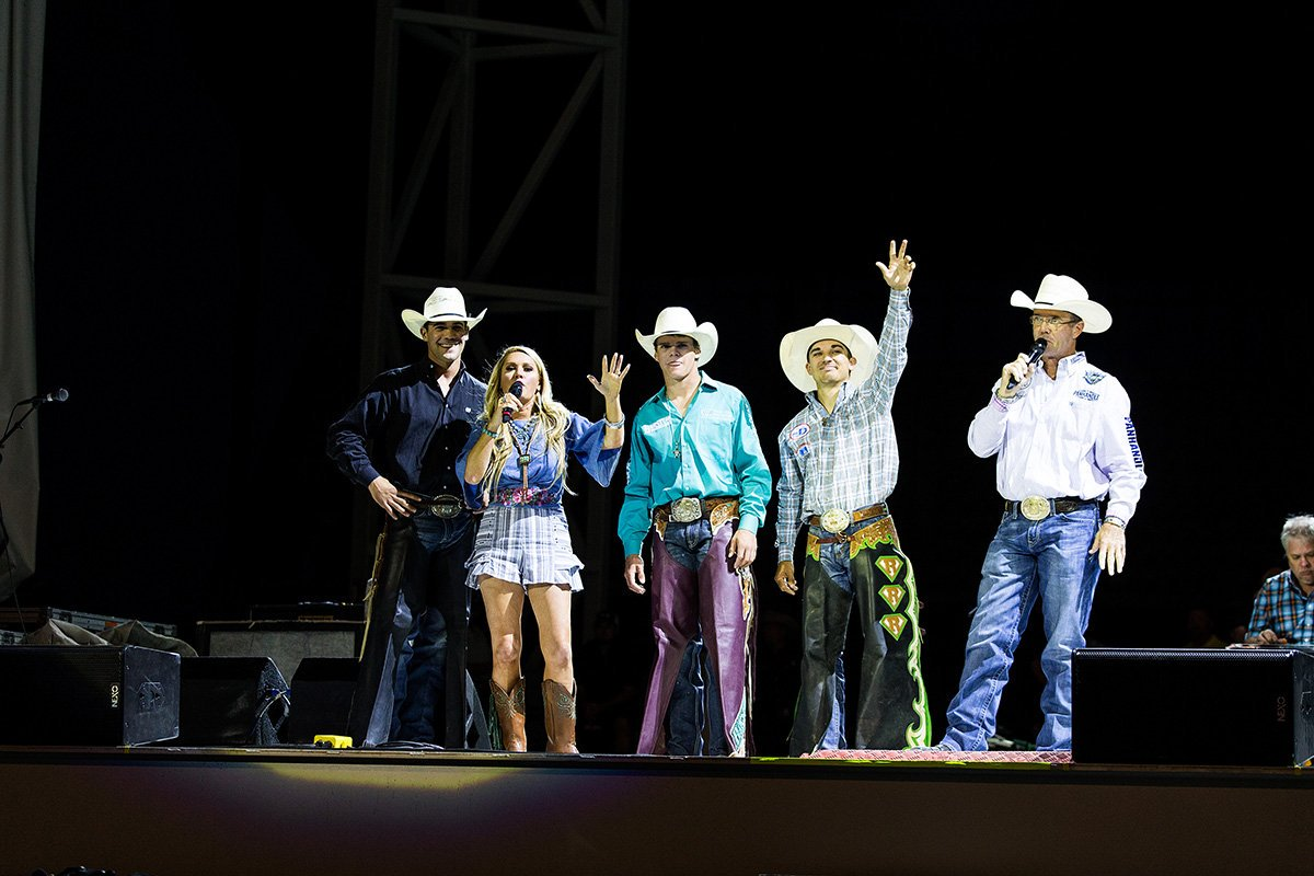 Tuff Hedeman introduces the 2015 World Finals contenders to the concert crowd in Cheyenne. Left to Right: Eli Vastbinder, Ali Dee, Boudreaux Campbell, Cody Rostockyj, and Tuff Hedeman.